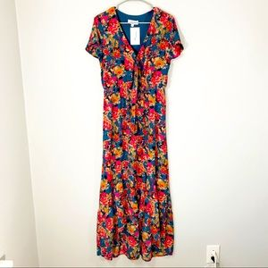 PEACH LOVE CALIFORNIA FLORAL MAXI DRESS